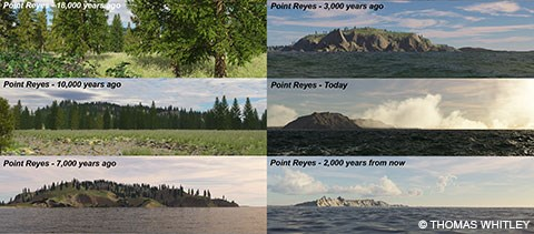 A composite image of six depictions of what the Point Reyes Headlands looked like in the past, at present, and in the future.