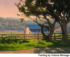 Painting of a barn with a cypress tree in the foreground. Painting by BayWood Artist Victoria Mimiaga.