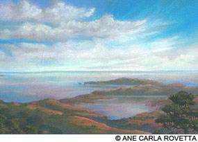 Painting of the Point Reyes peninsula from Inverness Ridge, by Ane Carla Rovetta.