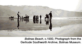Several individuals standing on Bolinas Beach, c.1900. Historic photograph by Gertrude Southworth. Photo courtesy of the Gertrude Southworth Archive, Bolinas Museum.