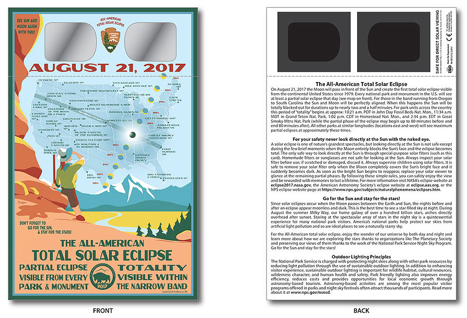 Image of solar eclipse viewing glasses with map of the USA and path of totality on the front and safety instructions on the back.
