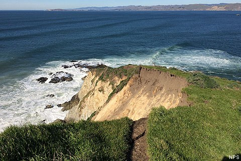 Tomales Point Trail ending abruptly where a large section of the bluff collapsed into the Pacific Ocean.