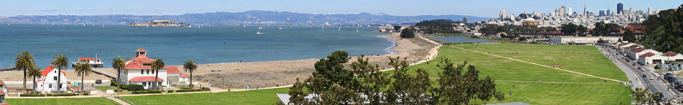 East view from Crissy Field overlook with old Coast Guard station on left and city on right