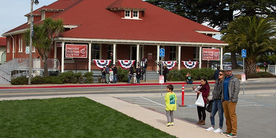 An outside view of the brand new Presidio visitor center
