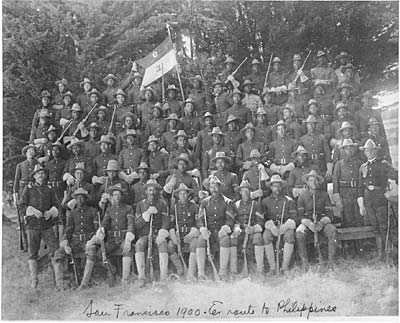 The members of the 9th Cavalry gathered for this photograph in San Francisco