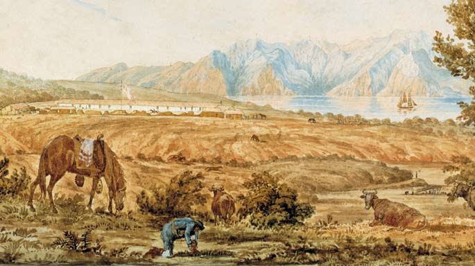 Painting of Mexican Presidio by Richard Beechey in 1826