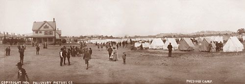 Refugee tent camp on the Presidio