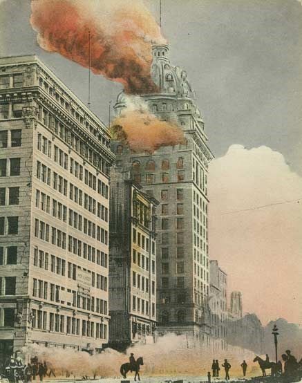 Downtown San Francisco in flames, 1906