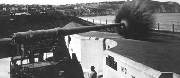 Battery Chamberlin, 6-inch gun firing