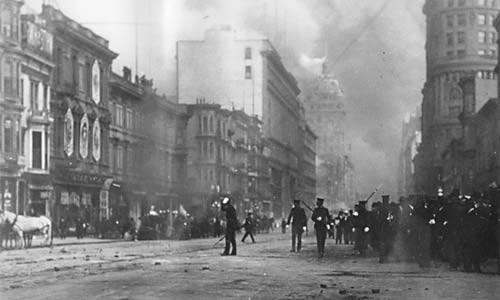 Soldiers in streets of San Francisco after 1906 earthquake