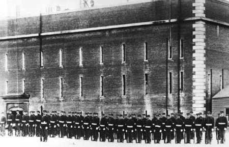 Troops on review at Fort Point.