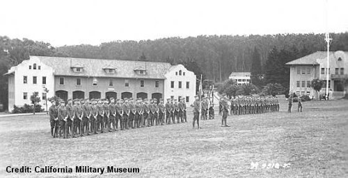 Troops performing a ceremony at Fort Scott