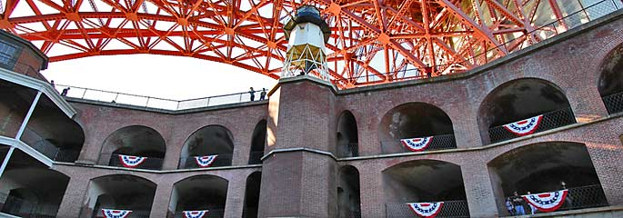 Fort Point interior photo with Golden Gate Bridge above