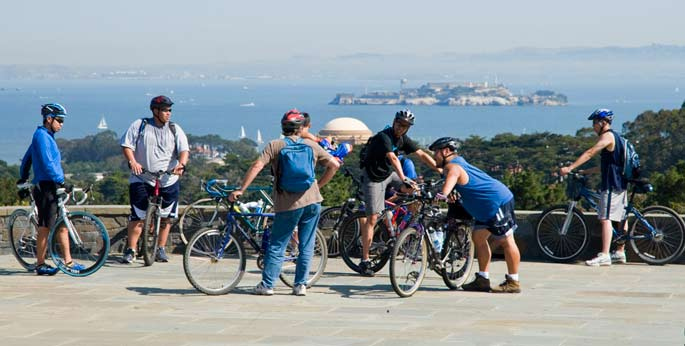 Bicyclists take in the view at Inspiration Point.