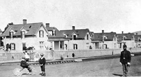 Officers' family housing on Funston Avenue of the Main Post was constructed in the early 1860s.