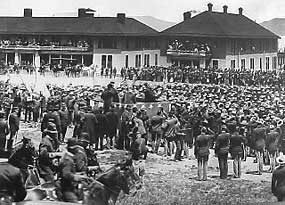 President William McKinley addresses a crowd at the Presidio's new Army General Hospital, May 1901.