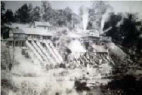 Historic photo of the Cabin Branch Pyrite Mine in operation