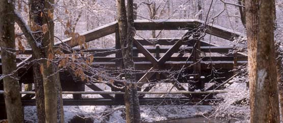South Fork Bridge over the snow covered Quantico Creek