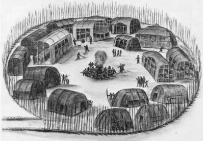 Black and white image of a recreation of an Algonquian village