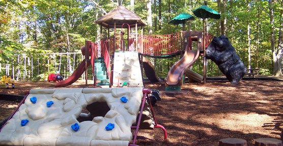 The playground at the Pine Grove Picnic Pavilion has a variety of activities for kids