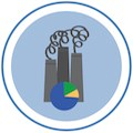 Illustration of smoke stacks and circle graph