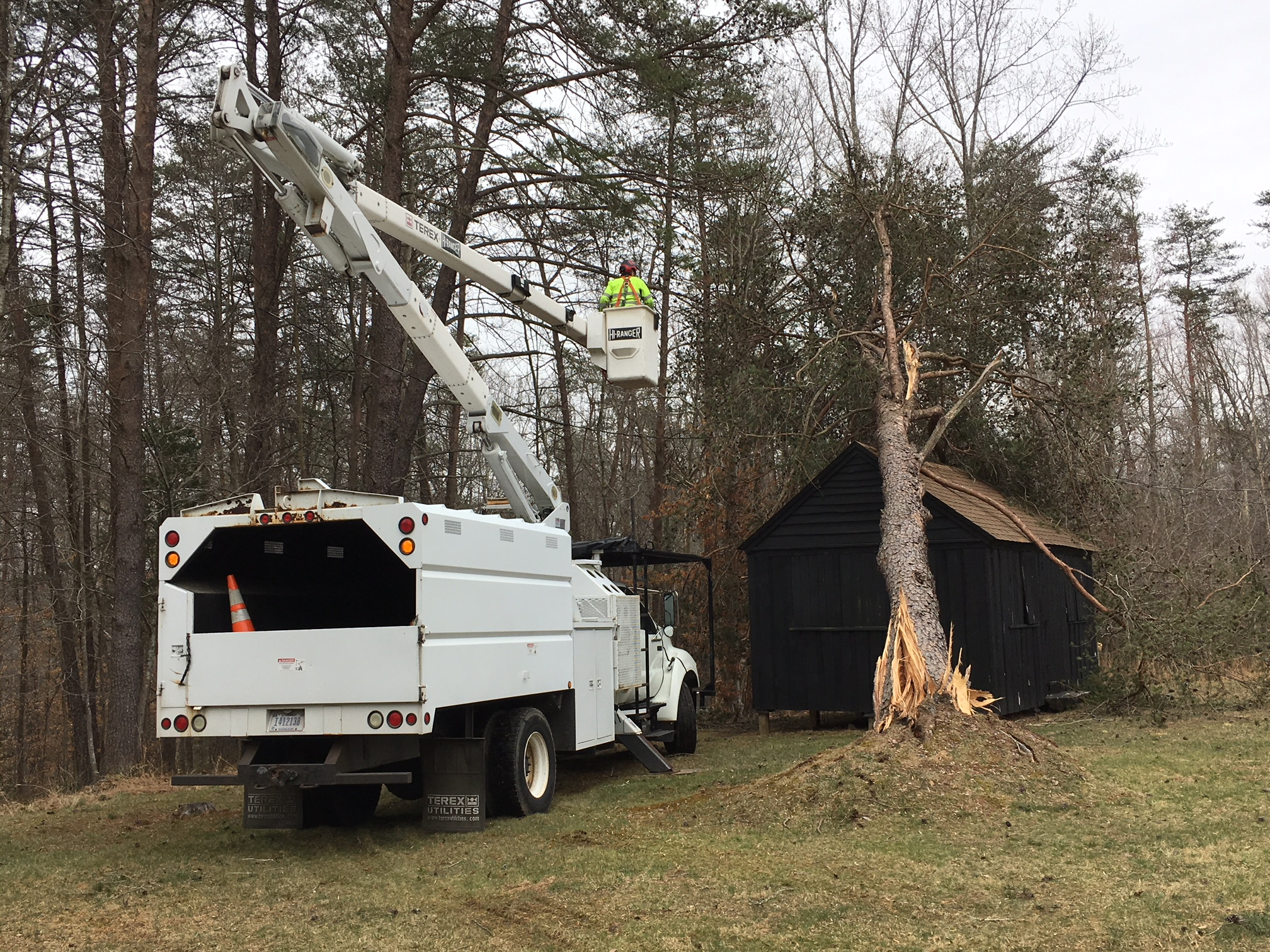 Crew from Rock Creek Park helps remove fallen tree from historic cabin.
