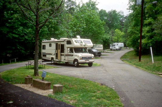 RVs enjoy the facilities at Travel Trailer Village.