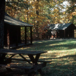 Cabins and picnic tables