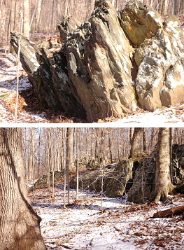 Two images of  rock outcroppings that line a small section of Laurel Loop Trail.