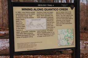 Geology trail, site four. A short description of Cabin Branch Pyrite Mine history.