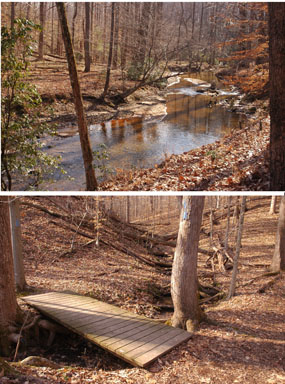 (Above) Quantico Creek, (Below) Footbridge leading onto North Valley Trail