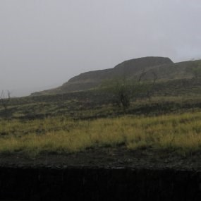 Rare rainy day at Pu'ukohola Heiau.