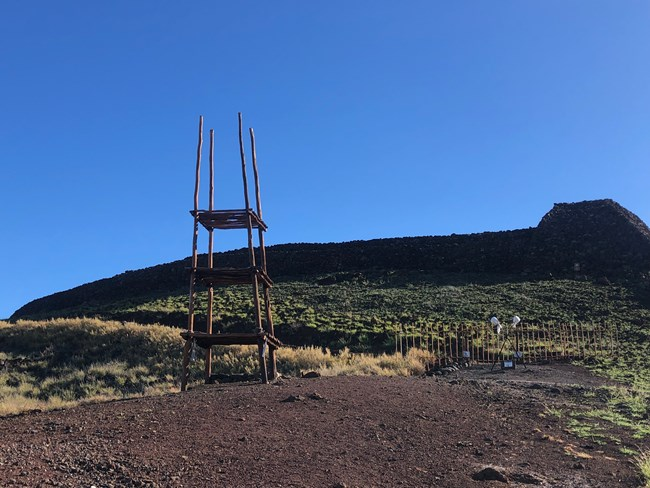 Pu'ukohola Heiau with a Lele (offering tower) below the temple.