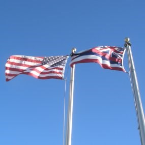American and Hawaiian flags at Visitor Center.