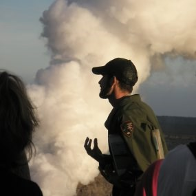 A park ranger at Hawaii Volcanoes National Park gives a talk at the Jagger Museum (2008).