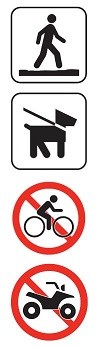 Symbols for: Stay on trail, Pets on leash, No bicycles, and No motorized Vehicles