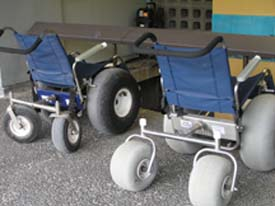 Beach wheelchairs are provided at the visitor center for use in the Royal Grounds