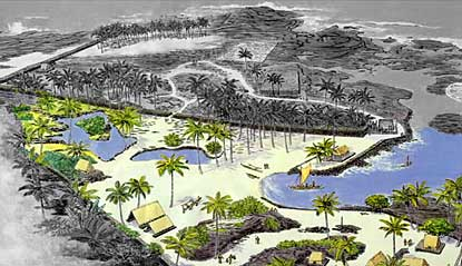 Drawn map of the Royal Grounds and the Puʻuhonua