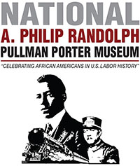 National A. Philip Randolph Pullman Porter Museum Logo.  Silhouetted images of train engine, a pullman porter, and A. Philip Randolph.