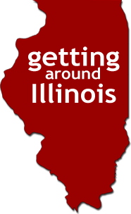 "Red silhouette of Illinois with ""Getting Around Illinois"" text within the image."