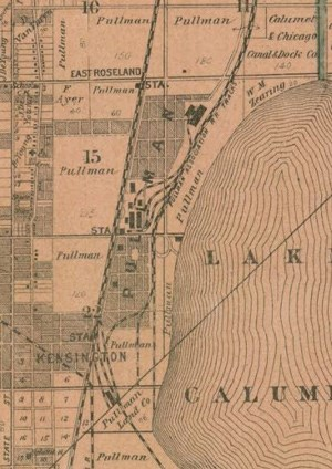 Real Estate Map of Pullman boundaries circa 1886