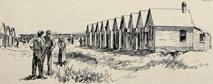 Illustration of workers standing in a field beside brickyard homes.