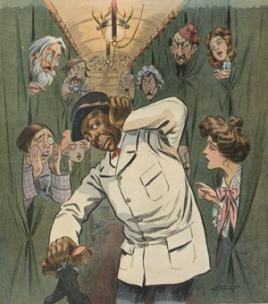 Colored Illustration of an African-American Pullman Porter holding his head while train passengers try to yell at him.