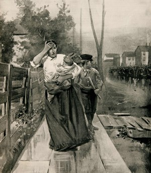 Magazine Illustration of Woman Leaning on a Fence while Holding a Baby.