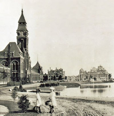 Ca. 1885, view of Lake Vista with the Administration Building to the left, the Hotel Florence in the rear center, and the Arcade Building to the right.