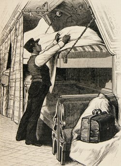 Illustration of an African-American Pullman Porter making a bed on the sleeping car.