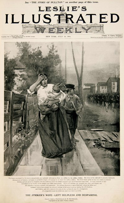 Leslie's Illustrated Weekly Woman leaning on fence while holding a baby.