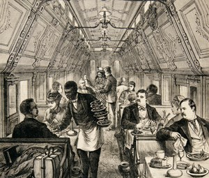Drawing of a Pullman dining car with a black Pullman porter.