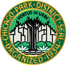 "Chicago Park District Seal Organized 1934 A tree in front of the city skyline with Latin ""Hortus in urbe"""