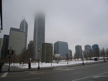 Chicago Skyline during Foggy Winter Day